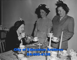 Y's Menettes tea. (L-R) Mrs. Sidney Parsons, Mrs. Duncan Campbell and Mrs. Harold Sprague.
