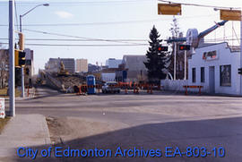 Demolition of 105 Street overpass as seen from 106 Avenue looking south.