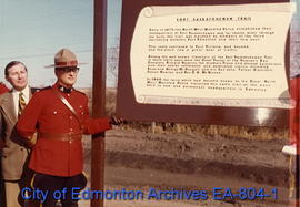Unidentified Mountie at the Fort Saskatchewan Trail interpretive sign unveiling