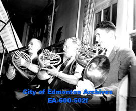 Edmonton Philharmonic Orchestra prepares for fourth season of concerts: French horn players (L-R)...