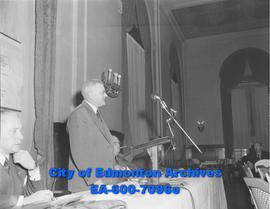 Hon. C.E. Gerhart during a meeting of the Edmonton Chamber of Commerce, members of the Canadian C...