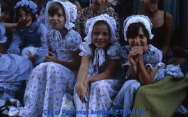 Girls wearing Klondike Days costumes
