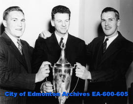 Golden Bears football team wins the Hardy Cup: (L-R) Bill Ingram, Prof. Maury Van Vliet and Don S...