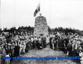 Cairn commemoration of peace treaty between the Cree and Blackfeet Aboriginal tribes