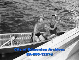 Barbara Hanford and Bob Smith in a canoe on Lake Wabamun.