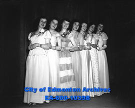 Contestants in the Miss Edmonton beauty pageant, each representing their community leagues. Dorot...