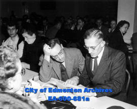 Alberta Teacher's Association special meeting at the Masonic Hall: (L-R) E. D. Wilson and H. G. T...
