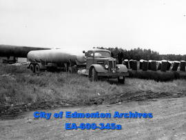 Gas truck which delivers propane from manufacturers in the USA to Alberta.