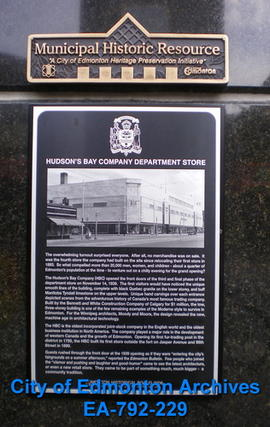 EHB Plaque for the Hudson's Bay Company Building