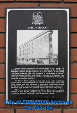 EHB Plaque for the Gibson Block