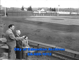 Baseball personalities at Renfrew Park: (L-R) John Ducey, Prexy Roche and John Beatty.