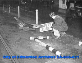 "Car number 13 hits the ""safety zone"" at 100 street and Jasper Avenue. Edmonton Bulletin..."