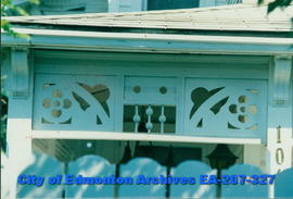 Architectural detail under eaves on house