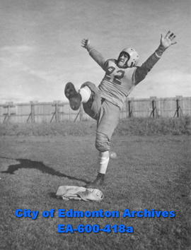 Golden Bears football team at the University of Alberta in training for the '47 season: kicker Bi...