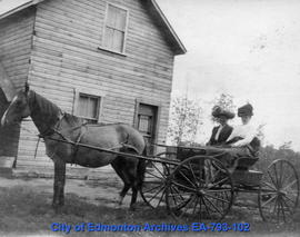 Two women driving horse and buggy