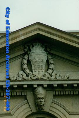 Bowker Building - architectural detail of pillars above the entrance