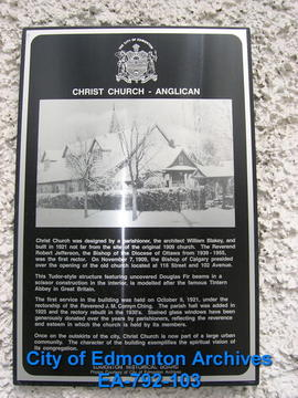 EHB Plaque for Christ Church Anglican
