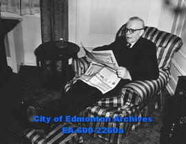 """End of the perfect political day"". Prime Minister Louis St. Laurent relaxes in easy ch..."