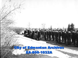 Funeral of Sergeant Yens Neilson, Edmonton city police: honour guard of fellow policemen and RCMP...