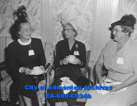 Wives of Shriners enjoy tea at HBC Empire Room: (L-R) Mrs. W.H. Harper, Mrs. Lloyd Werner and Mrs...