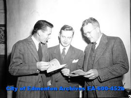 Edmonton city teachers open 22nd Annual Convention at Garneau School: (L-R) L. H. H. Cuthbertson,...