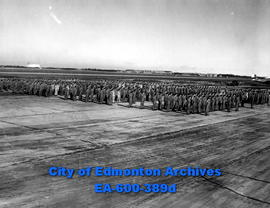 North West Air Command personnel inspection at Edmonton Station by Air Vice Marshal K. M. Guthrie.