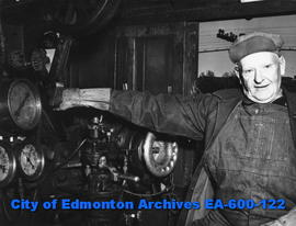 Alex McLean of Calgary, CPR locomotive engineer on his last run on the Edmonton to Calgary line, ...