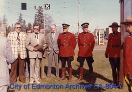 The unveiling of the Arrival of the North West Mounted Police interpretive sign