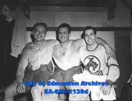Hockey - Edmonton Flyers vs Calgary Stampeders. L-R: Butch McDonald, Don Culley and Brownridge.