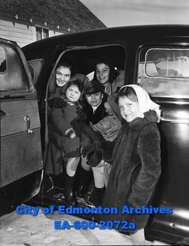 Deschenaux children, homeless due to fire, go to movies: Laura, Benny, Fay, Billy, Mary Rose.