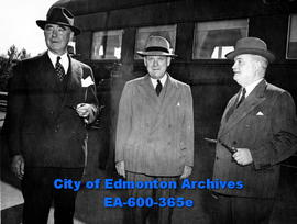 CPR officials on inspection tour through Western Canada: (L-R) L. J. Belnap, Thomas Dickson and R...