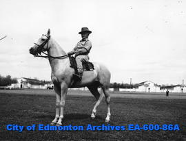 """Shorty"" Allen riding horse ""Blonde Sam"", Edmonton Exhibition Association's l..."