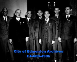 His Honour Lt.-Gov. J. C. Bowen presents awards to Edmonton Scout Workers during luncheon at the ...