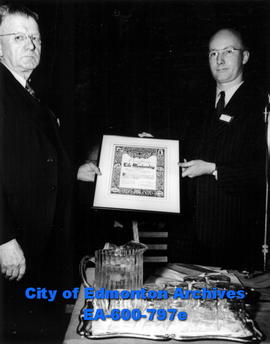 Alberta Dairymen's convention at the Macdonald Hotel: Waldo F. Empey, left,  receiving a life mem...