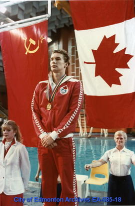 Universiade '83 - Canada's Alex Baumann At Medal Presentation