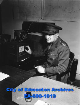 Member of the party sent to set up the first signals station in the Canadian north, Lt.-Col. W. W...