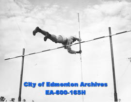 Pat Walker, pole vaulter, training for the Dominion Track and Field Championships, Edmonton.