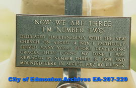 """Now we are three"" - plaque"