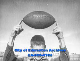Golden Bears football team at the University of Alberta in training for the '47 season: boy holdi...