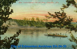 River Saskatchewan with Old Ferry, Edmonton, AB