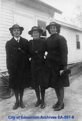 Isobel Cummins, Kathleen Waddell, and Anne Robertson at H.M.C.S. Stadacona, Halifax.