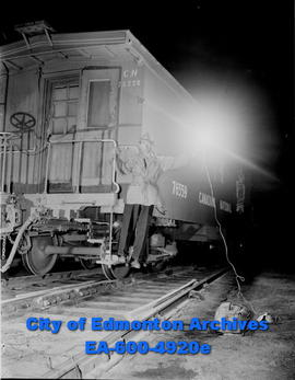 Railway Strike: Highball is given by brakeman on last freight out ofEdmonton in early hours befor...