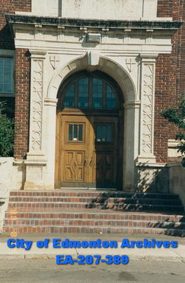 Corbett Hall - architectural detail of entrance