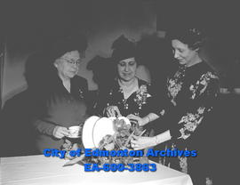 Canadian Association of Consumers meeting. L-R: Mabel Patrick, Mrs. F.E. Wright and Mrs. C.L. Woods.