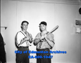 Baseball managers: (L-R) Eddie Morris (Eskimos) and Laurel Harney (Chevrolet Cubs).