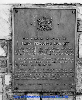 Plaque on Emily Murphy Memorial