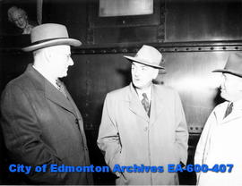 J. Ivan MacKay, newly appointed general manager of the prairie region of the CPR, on a brief insp...