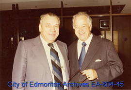 Mayor William Hawrelak (left) at the Calgary Convention Centre