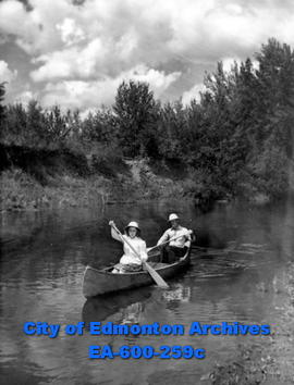 Mr. and Mrs. Kenneth and Enid Crockett at the end of a canoe trip down the Saskatchewan River fro...