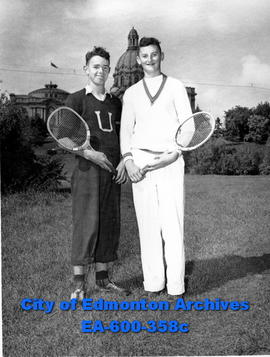 "Junior tennis players in ""Recreation Week"" tournament: (L-R) David Kinlock and Frank Ol..."